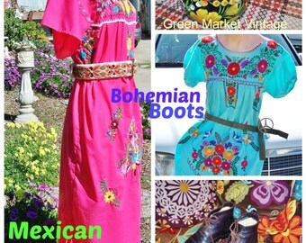 Bright Turquoise, Mexican Dress, Embroidered Mexican, Frida Kahlo dress, Blue Mexican dress, size S / M