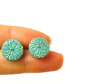 Smokey Teal & Cream Stud Earrings, Round, Kaleidoscope, Polymer Clay, Stainless Steel, Hypo Allergenic, Unique Art, Supremily Jewellery