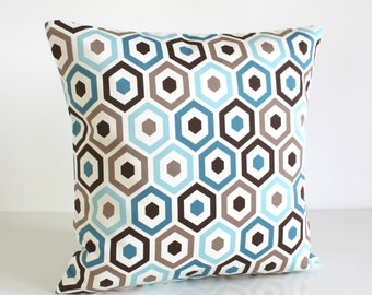 Geometric Pillow Cover, Cotton Cushion Cover, Blue Pillow Sham, Brown Pillow Case, Hexagon Pattern Pillow, Throw Pillows - Beehive Teal