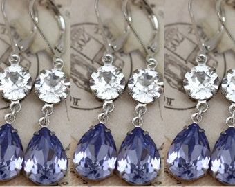 Lilac Lavender Earrings Set of 3 Pairs Purple Bridesmaid Jewelry Bridal Party Gift Bridesmaid Earrings Swarovski Crystal Pear Clip On Avail