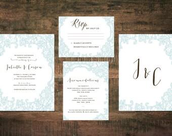 Blue Wedding Invitation Suite (Set of 25) | Wedding Invitation Set, Classic Wedding Invitation, Monogram Invitation