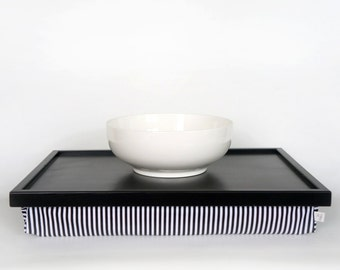 Breakfast Serving Lap Tray or Laptop Lap Desk, stand- black tray with black and white striped pillow