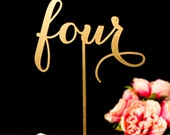 Gold Wedding Table Numbers - Freestanding with base- Soirée Collection