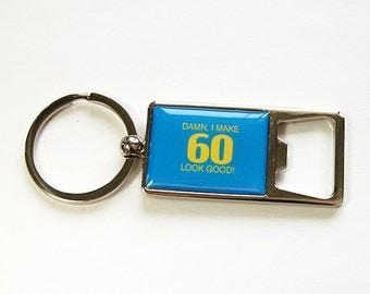 60th Birthday, Bottle Opener, Keychain, Keyring bottle opener, Beer bottle opener, gift for him, birthday gift, Sixty, Blue (4580)