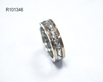Vintage unisex wedding band ring 9k gold 925 sterling silver women's men's style, silver gold ring, wedding silver bands, wedding gold bands