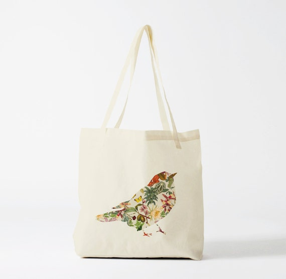 Tote Bag Botanical Bird, canvas bag, cotton bag, eco-friendly bag, groceries bag, novelty gift, gift for coworker, gift women, gift mother.