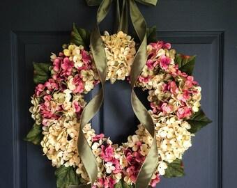Wreaths | Hand Blended Hydrangea Wreath |  Door Wreath | Summer Wreath | Front Door Wreaths | Birthday Gift | Home Decor | Wall Decoration