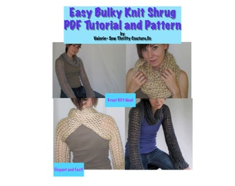 knitting for beginners tutorial, Bulky Knit Scarf/ shrug Tutorial, Beginners Knitting Pattern, Knit a Gift