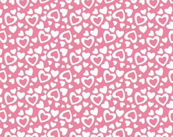 Valentine Fabric, Riley Blake Fabric Holiday Hearts, C561 Pink Hearts Fabric, Valentine Hearts, Valentines Day Fabric, Pink Fabric, Cotton