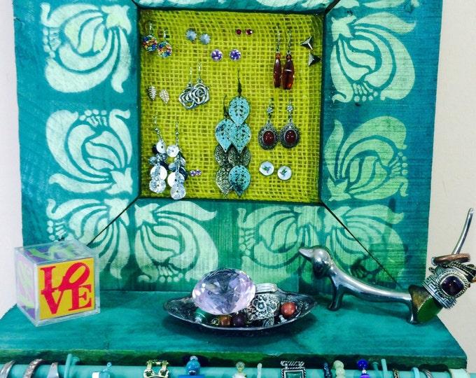 Floating shelves /pallet wood hanging jewelry holder shelf /reclaimed wood earring display frame Art Deco flowers bracelet bar 4 scarf hooks
