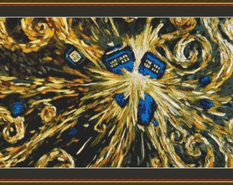 Exploding Tardis Police Box Doctor Who Counted Cross Stitch Pattern in PDF for Instant Download