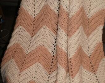 Crochet  Ripple  Afghan Cream And Mauve rows