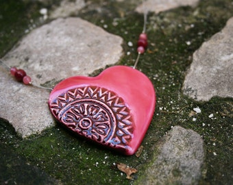 Pink ceramic heart pendant, Heart ceramic necklace, Statement ceramic jewelry, Gift for her