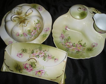 Vintage Gorgeous Nippon Set of Hand Painted Ornate Galedon Green Pink Roses Boudoir Serving Dishes Mint