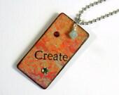 Decoupaged Keychain Rectangle Wood Key Chain Swarovski Crystal Embellished Gift for Her Under 10
