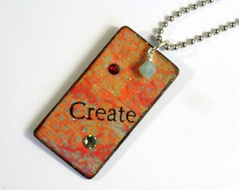 Decoupaged Keychain Rectangle Wood Key Chain Swarovski Crystal Embellished Gift for Her Under 10