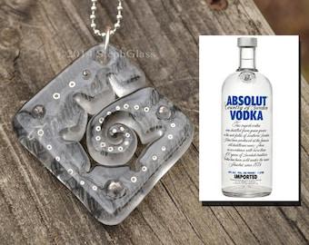 Absolut Recycled Bottle Pendant // Fused Glass // StephGlass Original Art