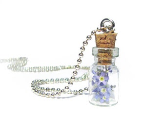 Forget Me Not Flower Necklace Glass Vial pendant ball chain