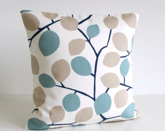 18x18 Throw Pillow Cover, 18 Inch Cushion Cover, Decorative Throw Cushion, Pillow Cover, Pillow Sham, Pillow Case - Nordic Leaves Blue