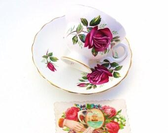 Vintage Cup and Saucer | Tea Cup Set | Red Rose Cup Set | Bone China Teacup