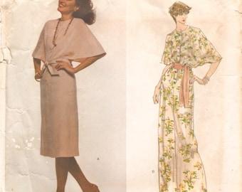 Fab Vintage 1970s Vogue Paris Original 1625 Pierre Balmain Cape-Sleeved Day or Evening Dress Sewing Pattern B38