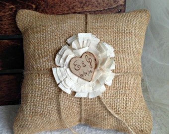 Ring Bearer Pillow, Wedding Ring Pillow, Burlap Ring Bearer, Rustic Ring Bearer Pillow, Rustic Ring Bearer, Rustic Wedding Decor