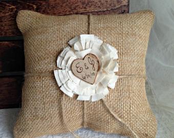 "Rustic wedding burlap ring bearer pillow Wedding ring pillow Personalized ring bearer pillow Burlap ring pillow 8"" x 8"""