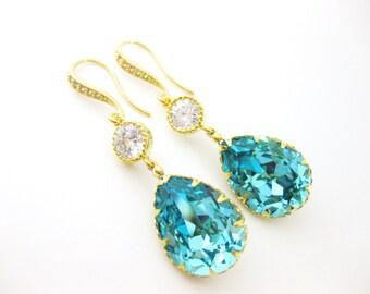 Swarovski Teal Blue Earrings Crystal Light Turquoise Earrings Blue Earrings Wedding Earrings Bridal Drop Earrings Bridesmaid Gift (E134)