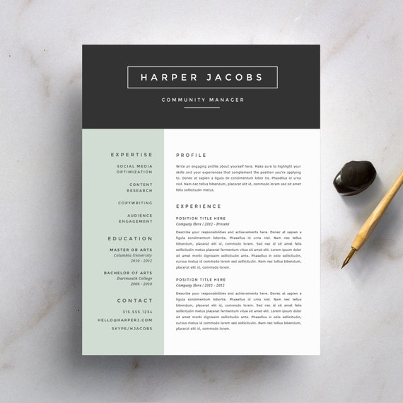 modern resume template and cover letter template for word diy printable 4 pack professional and creative design - Modern Cover Letter Template