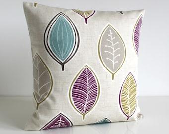 Decorative Throw Pillow, Sofa Pillow Cover, Cushion Cover, 16 Inch Sofa Pillow, 16x16 Pillow Cover, Scatter Cushion - Modern Leaves Plum