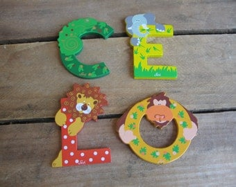Vintage Levi Letters, Painted Wooden Letter, Animal Nursery Letter, Small Wood Letter, Nursery Decor, Wall Art, Choice of ONE MyVintageTable