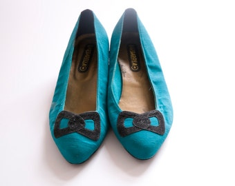 Teal Smurfette 80s Low Heel Pumps Size 41 UK 7.5 US 10