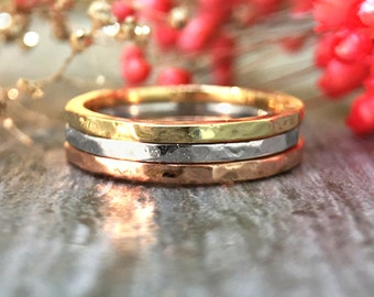 1.4MM Hammered Band Set | Stackable Rings | Thin Rings | 14K Solid Gold | Fine Jewelry | Free Shipping
