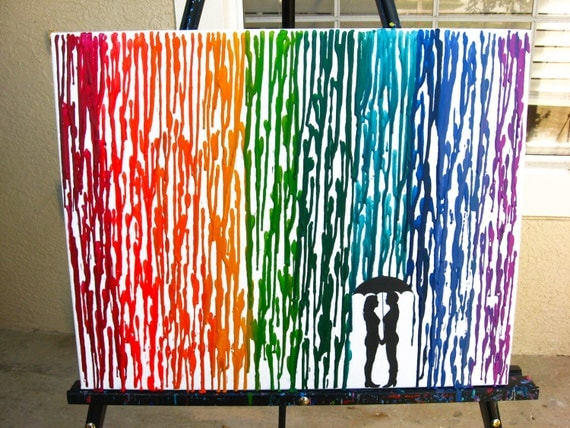 Wedding Gifts For Lesbian Couples: Lesbian Art Rainbow Raindrops Melted Crayon Art By FemByDesign