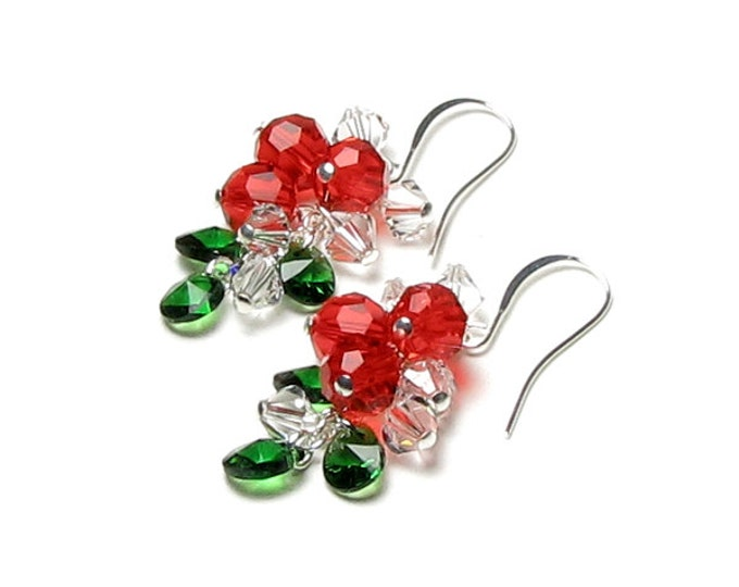 Swarovski Crystal Christmas Earrings, Red Berry, Green Leaf, Clear Crystal Silver Earrings, Christmas Gift For Women, Silver Holiday Jewelry