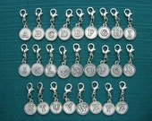 Initial charm zipper pull -  personalized bridesmaid gift for ladies - clip on monogram for bag