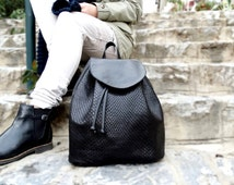 Black leather backpack, Black leather bag