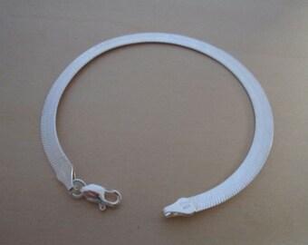 """925 Sterling Silver Flat Polished Snake Bracelet, 20 cm/ 8"""" Long & 3 mm Wide"""