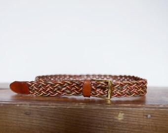 1970s Boho Braided Brown Leather Belt