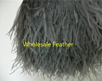 10 yards/lot Dark grey ostrich feather trimming fringe on Satin Header 5-6inch in width for Wedding Dress decor