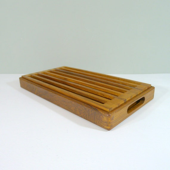 Vintage Kalmar Teak Bread Board Cutting Board Crumb Catcher