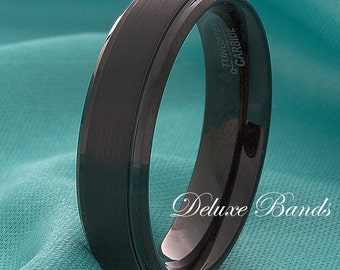 Black Tungsten Ring 6mm Brushed Stepped Edges Comfort Fit Mens Womens Anniversary Ring His Hers Promise Commitment Engragement Black Ring
