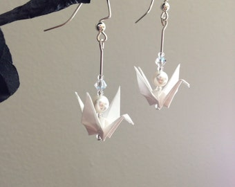 Origami Paper Crane Earrings with White Paper, Clear Swarovski Crystals, White Swarovski Pearls, Glass Beads, and Sterling Silver Options