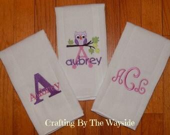 Personalized Burp Cloths/Monogram Burp Cloths/Personalized Burp Cloths for Baby Boy or Baby Girl/Owl Burp Cloths/Personalized Baby Item