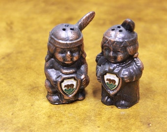 Souvenir Yellowstone National Park Native American salt and pepper shakers.