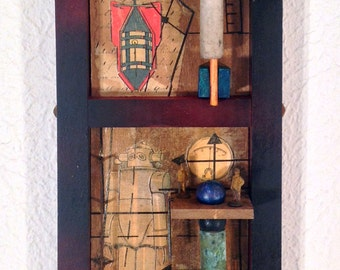 Spare Parts- Mixed media collage assemblage art