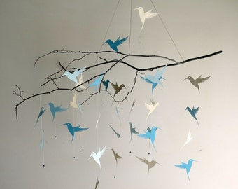 Hummingbird Mobile - custom colors,mobiles,home decor,nursery mobile,kids,gifts,blue mobile,branch mobile,hanging mobile,bird mobile