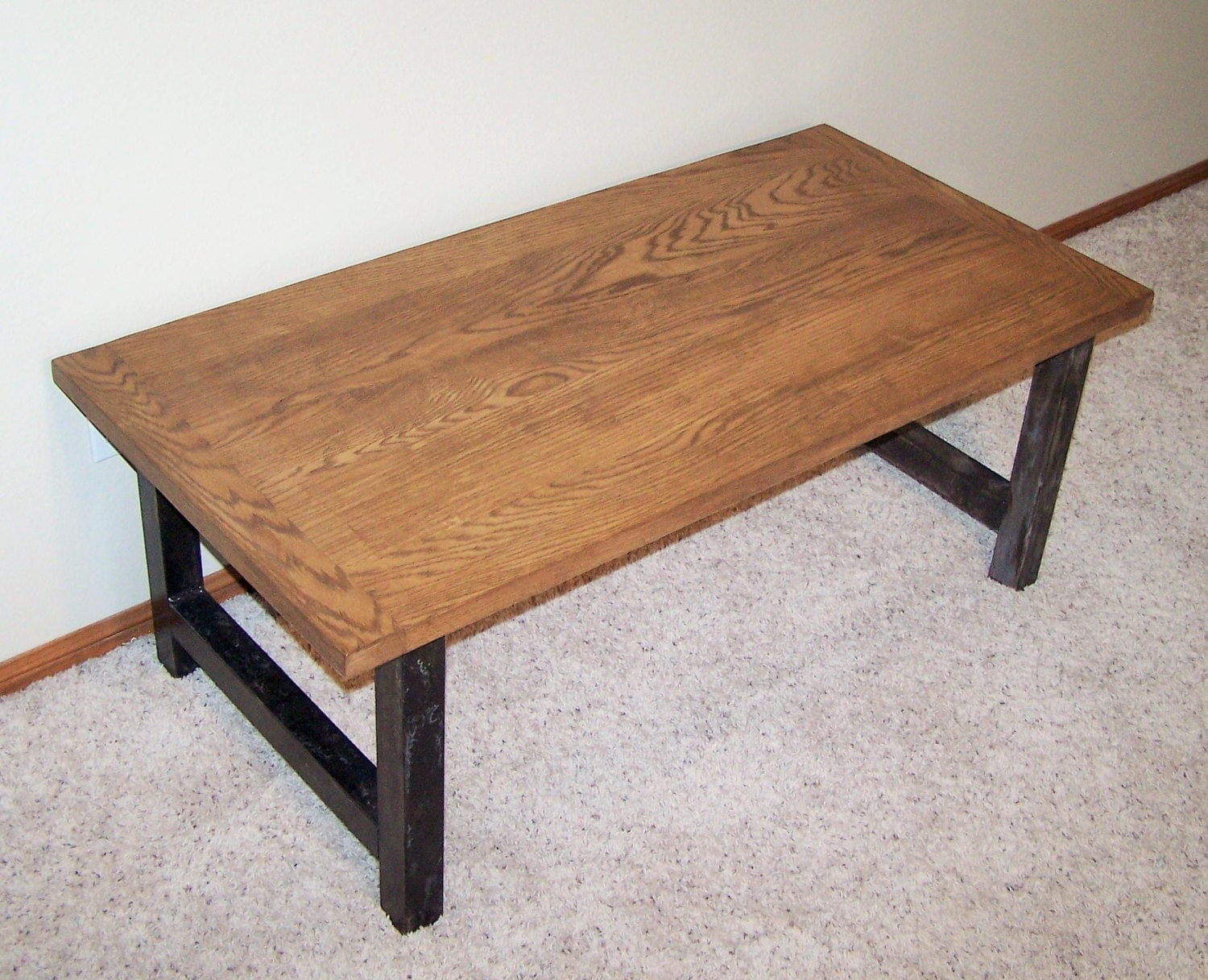 Coffee Table Made From Steel H Legs & Oak By ChristianArtisans. Full resolution‎  photograph, nominally Width 1500 Height 1217 pixels, photograph with #8D603E.