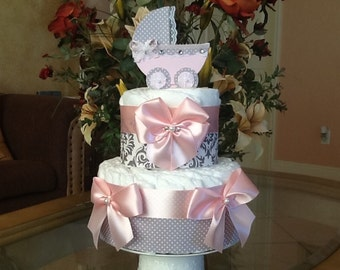 Baby Girl Diaper cake two Tier Diapers cake Pink and gray diaper cake/elegant diaper cake baby Shower gift/ Centerpiece