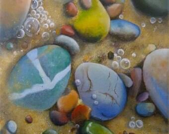 Original small oil painting of pebbles, sand and sea foam, beach art